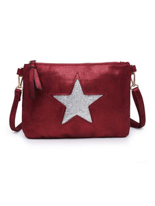 Red star clutch with shoulder strap