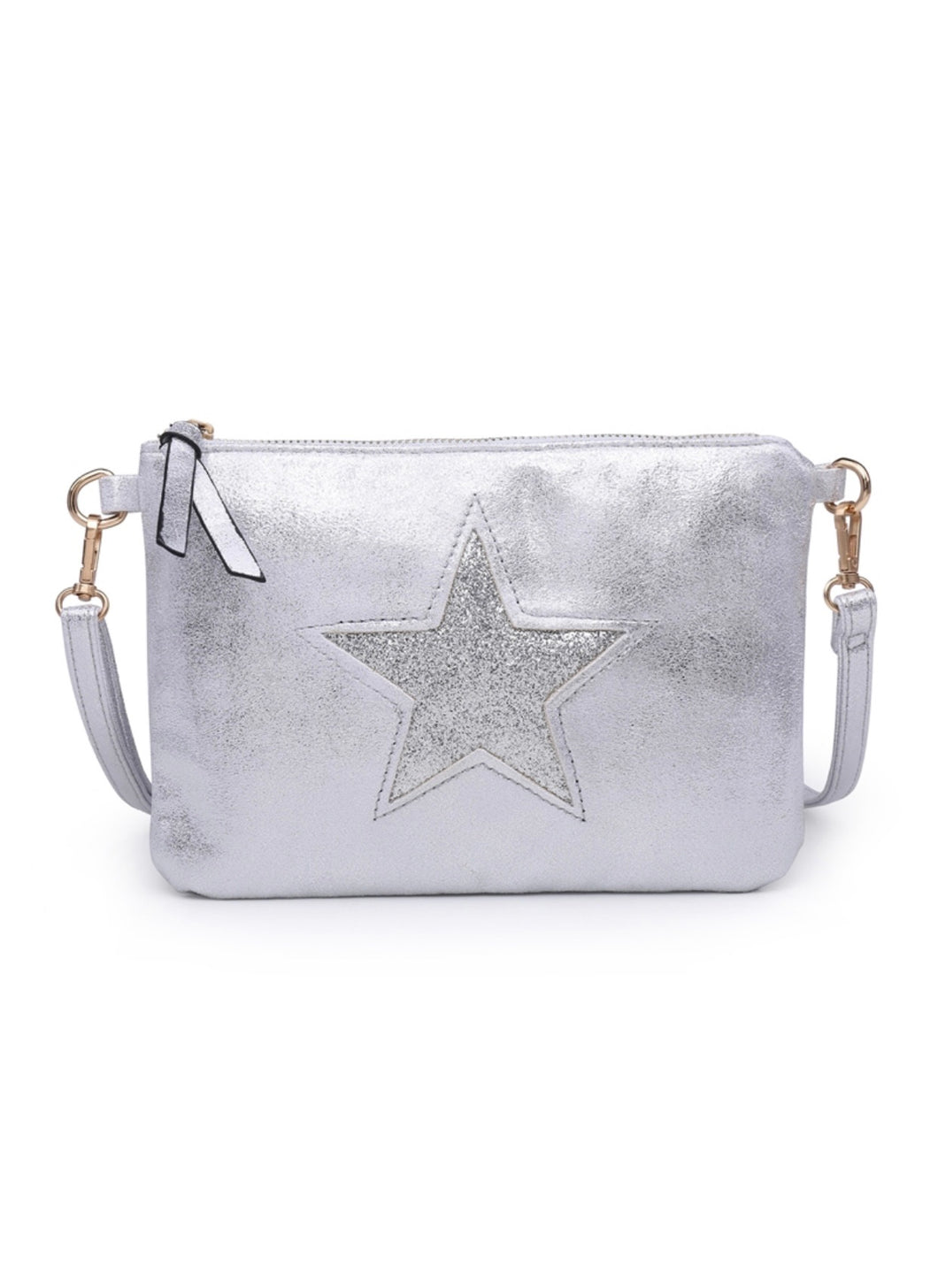 Silver star clutch with shoulder strap