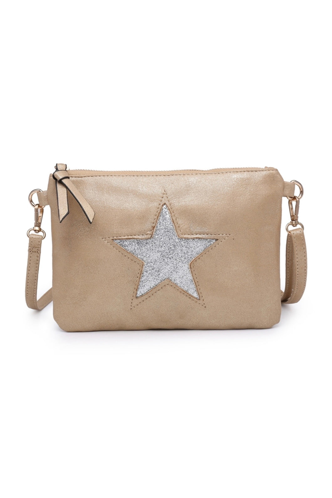 Gold star clutch with shoulder strap