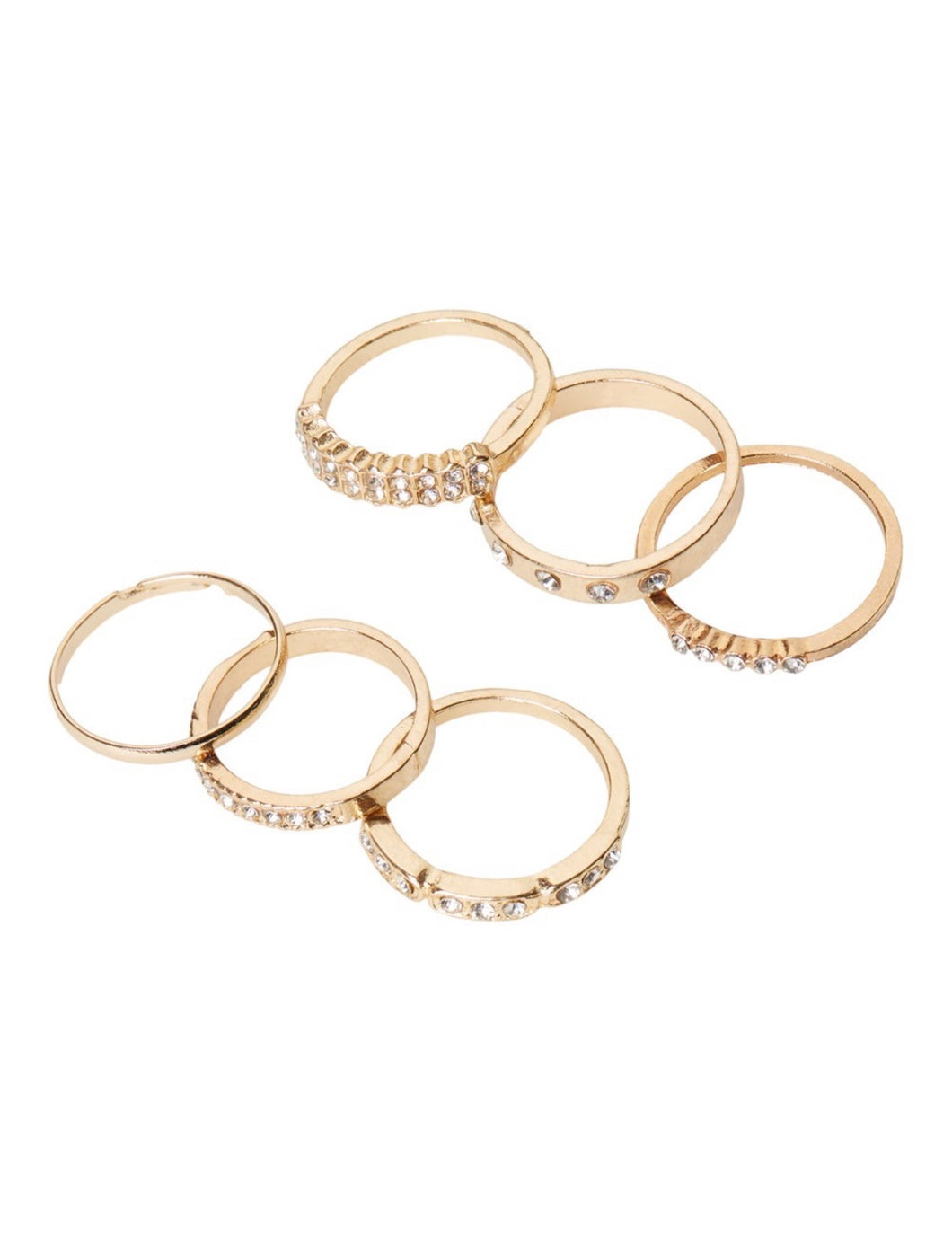 Gold colour rings - six pack