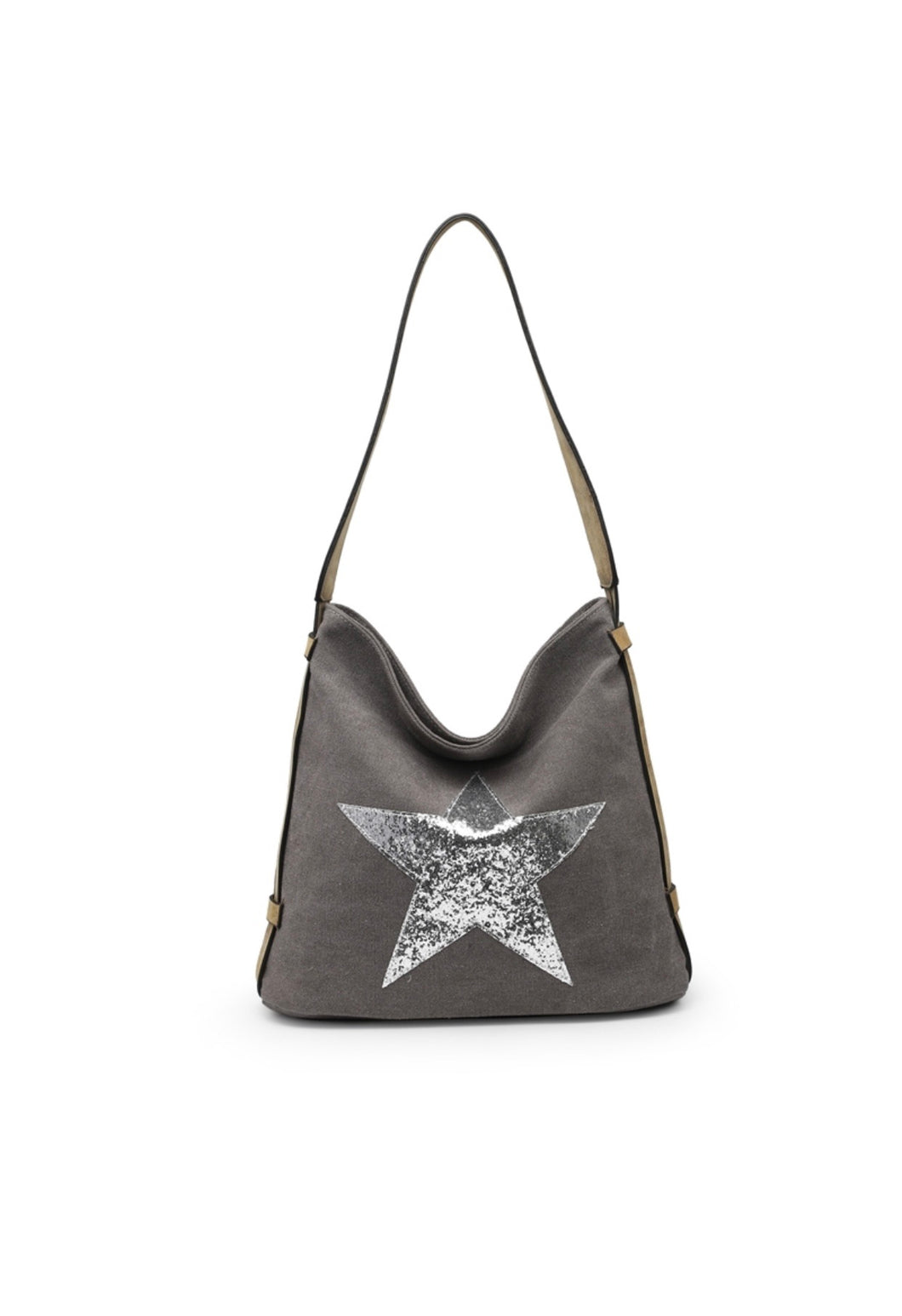 Dark Grey glitter star shoulder bag