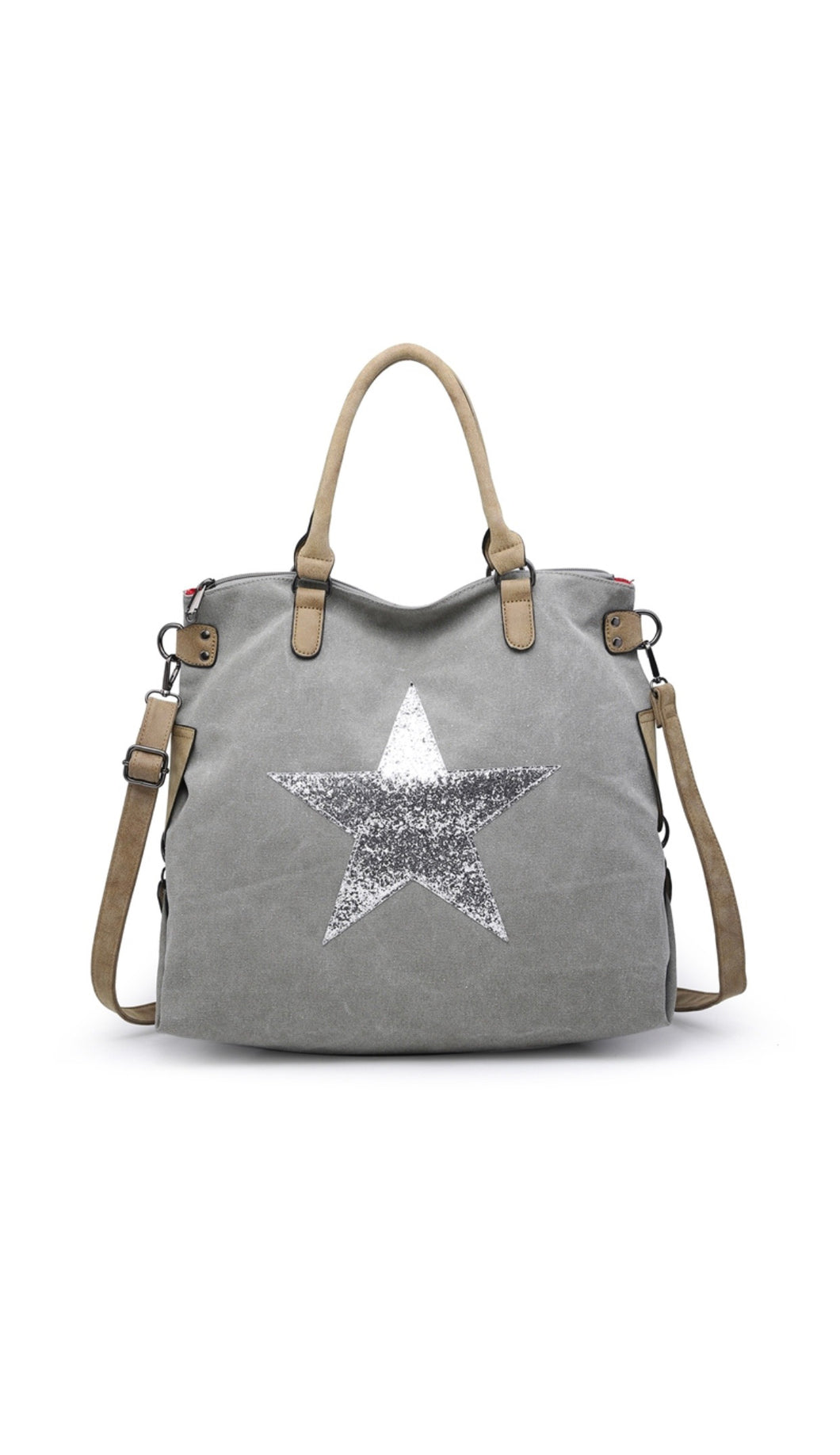 Light grey star bag with silver star - Large size