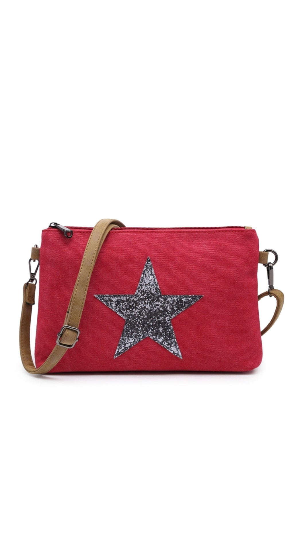Red glitter star clutch - shoulder strap included