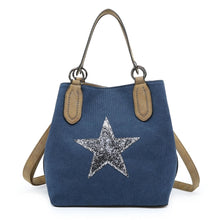 Load image into Gallery viewer, Navy bucket star bag with shoulder strap