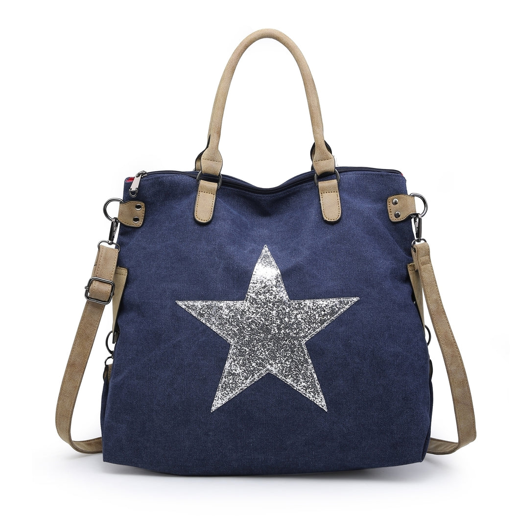 Navy star bag with silver star - Large size