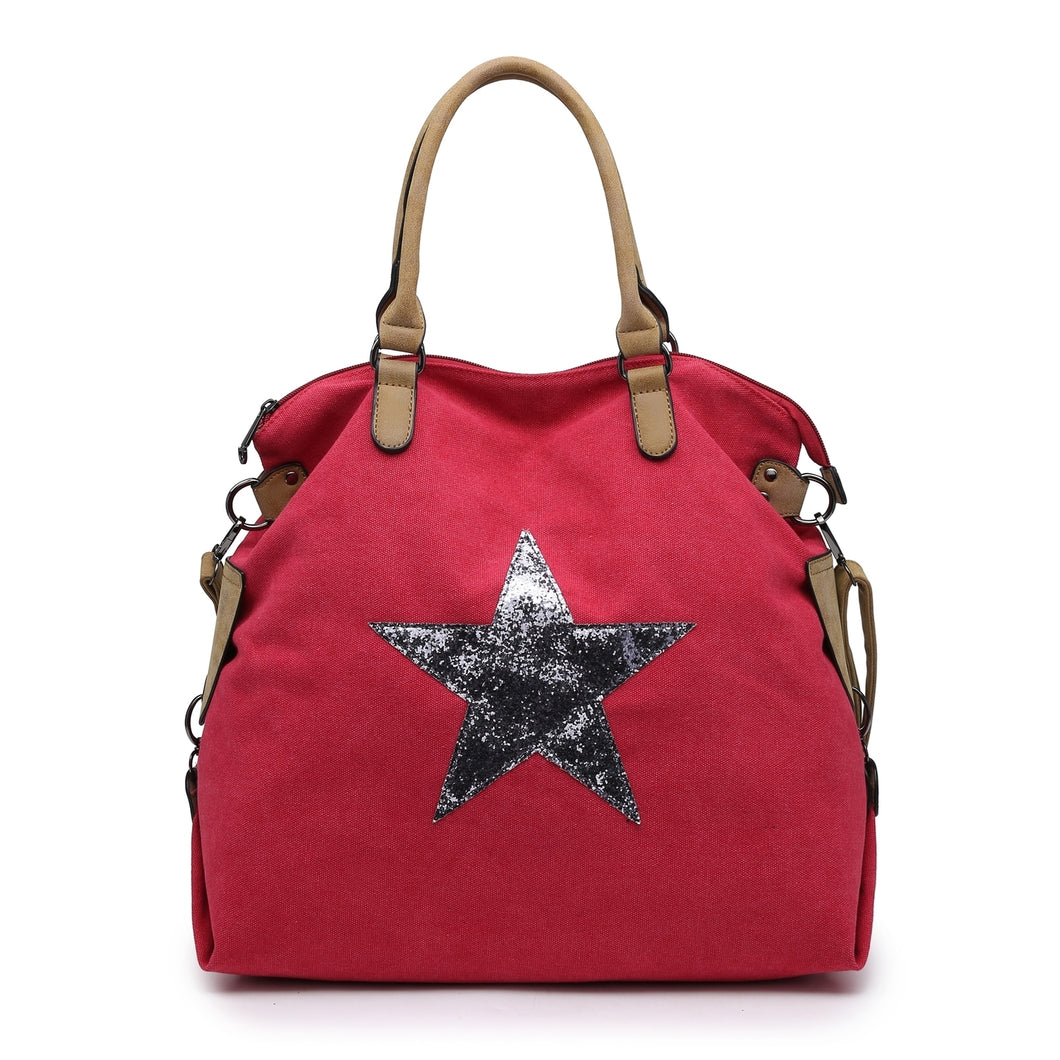 Red star bag with silver star - Large size