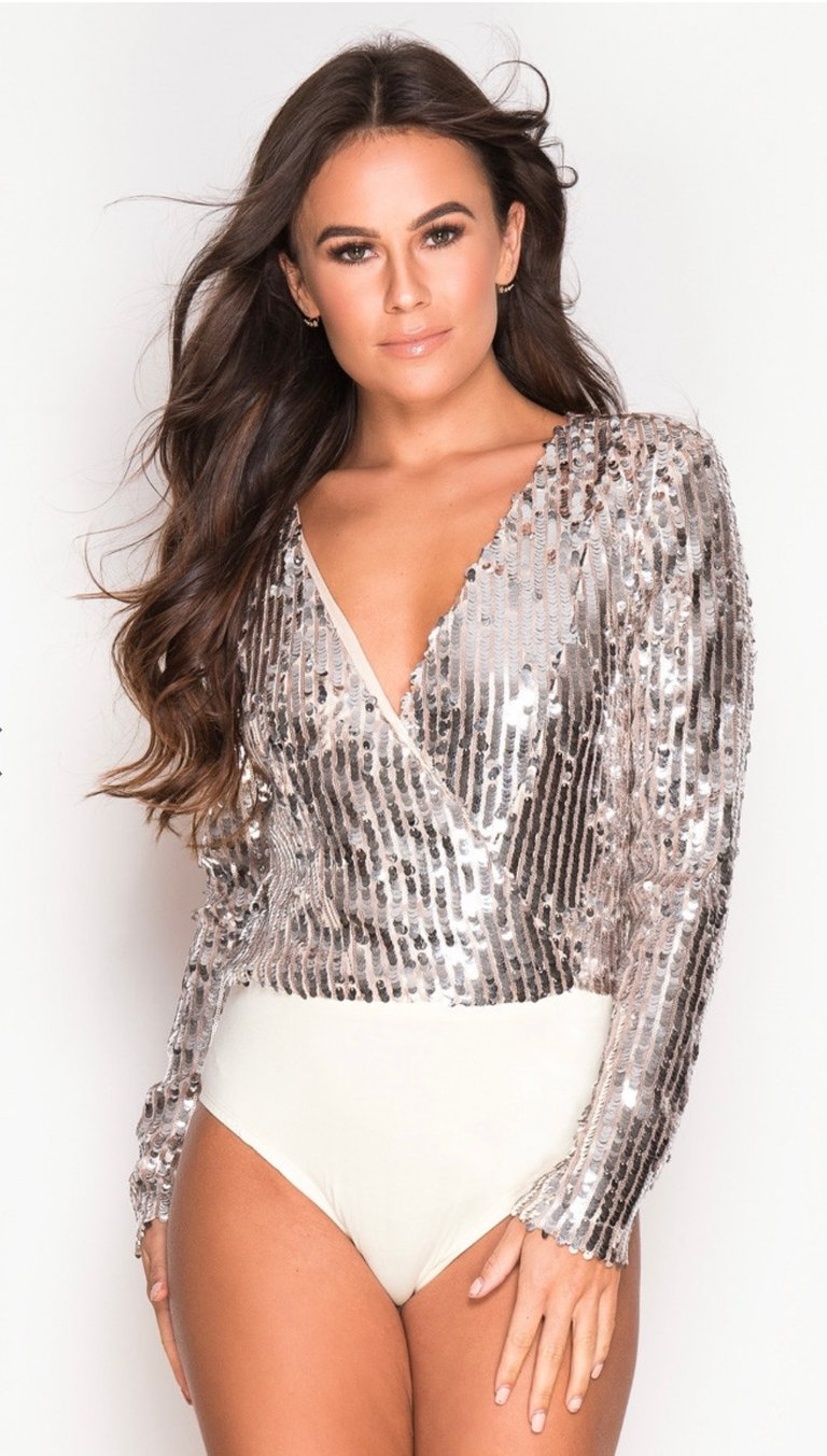 Nude sequin bodysuit