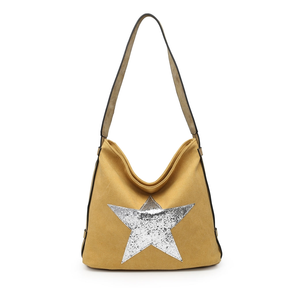 Yellow glitter star shoulder bag