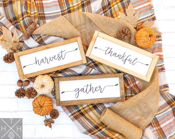 Handmade wood sign, home decor, fall home decor, fall sign, hello fall, autumn, harvest, thankful, gather, holiday decor, holiday gifts, thanksgiving decor