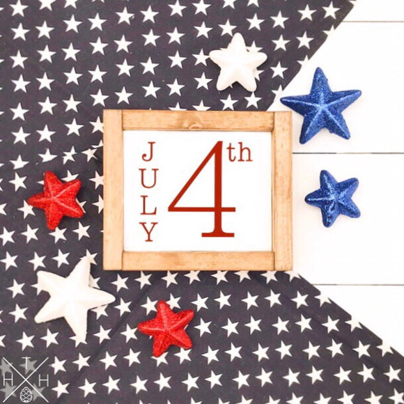 4th of July Date Handmade Wood Sign