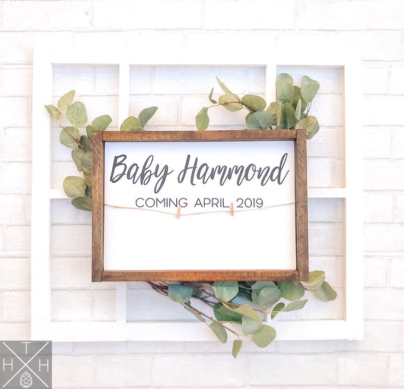 Baby Announcement, handmade wood signs, baby announcement sign, baby shower, baby shower sign