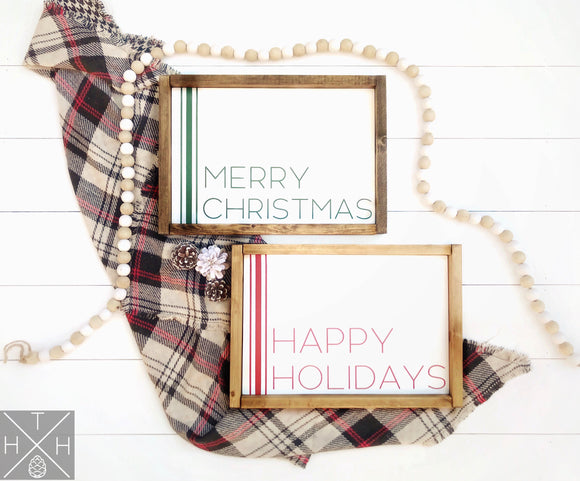 Merry Christmas or Happy Holidays Handmade Wood Sign