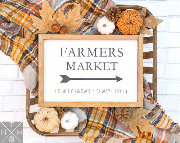 Handmade wood sign, home decor, fall home decor, fall sign, farmers market, farmers market sign, locally grown, fall farmers marker, autumn market