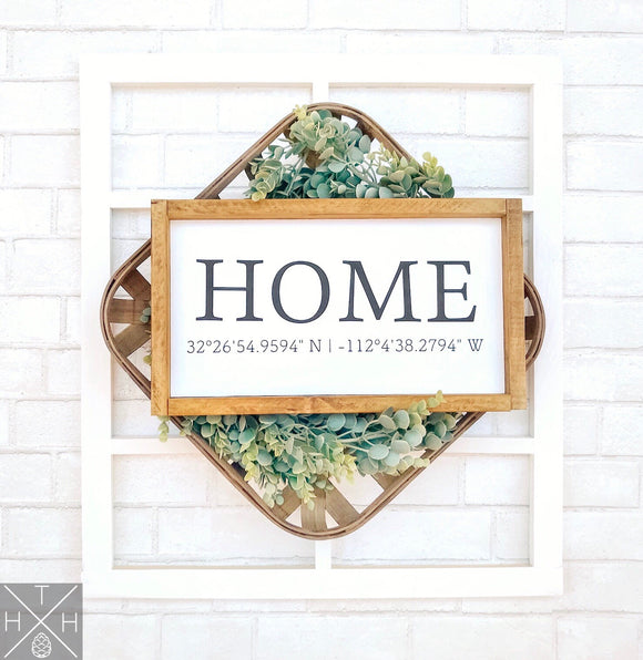 Handmade wood sign, home decor, gift, coordinates, home coordinates, custom sign, home, home sign, living room decor, living room sign