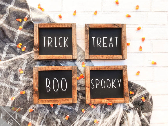 Handmade wood sign, home decor, fall decor, fall signs, Halloween decor, Halloween signs, halloween, mini, minis, minis signs, set of signs