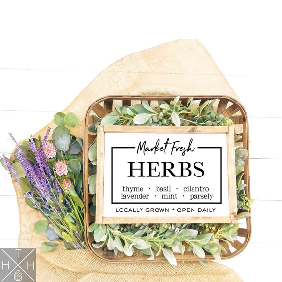 Fresh Market Herbs Handmade Wood Sign