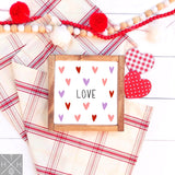 Love with Heart Pattern Handmade Wood Sign