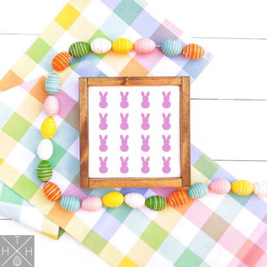 Peeps Bunny Pattern Handmade Wood Sign