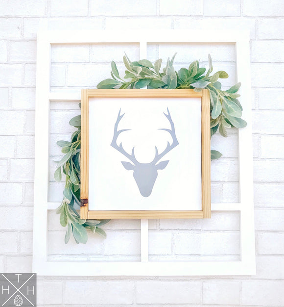 Handmade wood sign, home decor, gift, custom sign, home, home sign, children room decor, baby boy room decor, rustic decor, deer sign, deer silhouette, deer head outline, woodsy decor