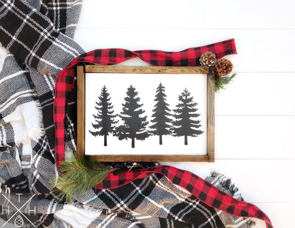 Pine Trees Handmade Wood Sign
