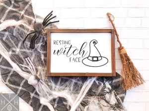 Handmade wood sign, home decor, fall decor, fall signs, Halloween decor, Halloween signs, halloween, witch, resting witch face, funny halloween decor, sarcastic decor, resting with face sign, witch sign