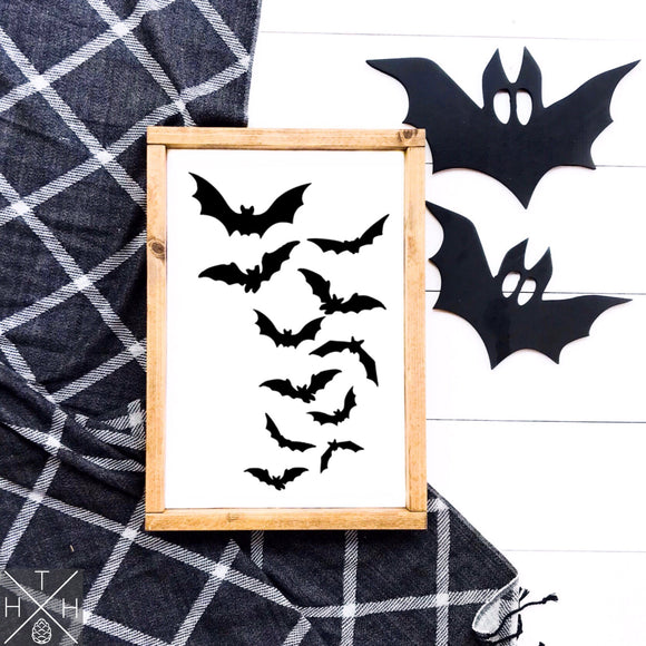 Flying Bats Handmade Wood Sign