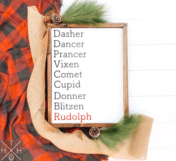 Reindeer Names Handmade Wood Sign