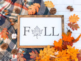 Fall with Leaf Handmade Wood Sign