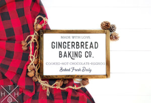 Gingerbread Baking Co Handmade Wood Sign