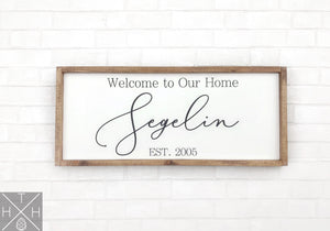 Handmade wood sign, home decor, gift, custom sign, home, home sign, living room decor, living room sign, last name sign, welcome home sign