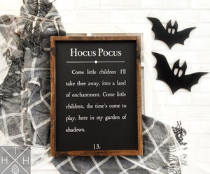 Hocus Pocus Book Page Handmade Wood Sign
