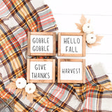 Fall Minis - Gobble, Hello Fall, Give Thanks, Harvest Handmade Wood Sign