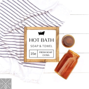 Hot Bath Handmade Wood Sign