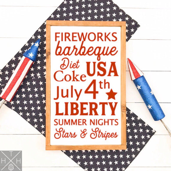 4th of July List Handmade Wood Sign