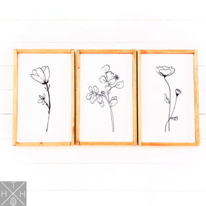 Reefrainaria Floral Drawings Handmade Wood Sign