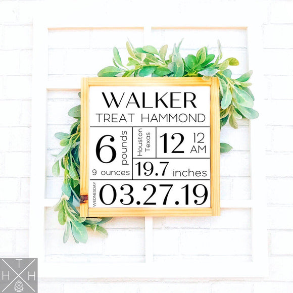 Baby Birth Details Handmade Wood Sign