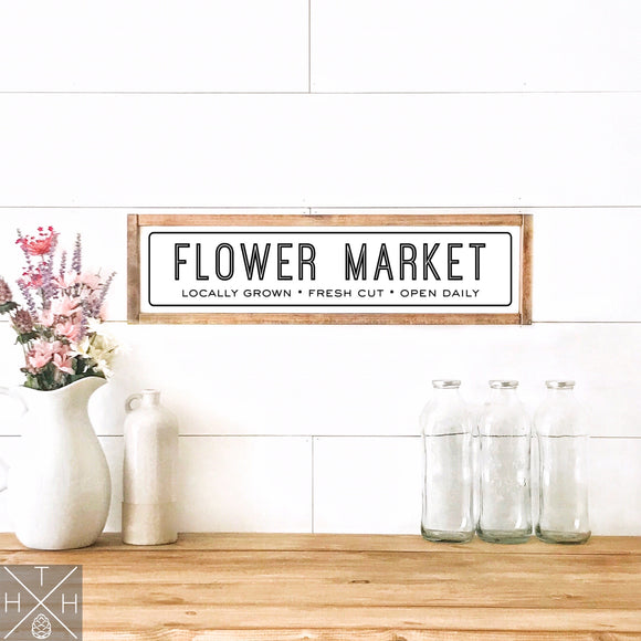 Flower Market Modern Handmade Wood Sign