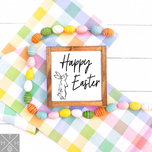 Happy Easter with Bunny Handmade Wood Sign