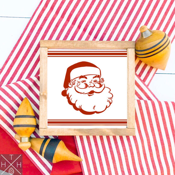 Vintage Santa with Stripes Handmade Wood Sign