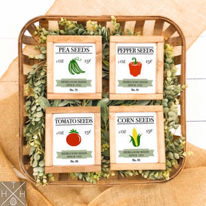 Vegetable Seed Packets Handmade Wood Sign