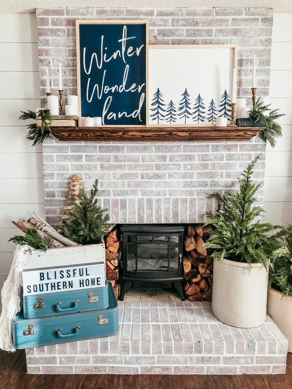 Winter Wonderland and Tree line Collaboration with Kara @blissfulsouthernhome Handmade Wood Sign