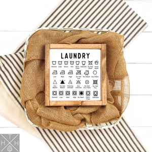 Laundry Symbols Handmade Wood Sign