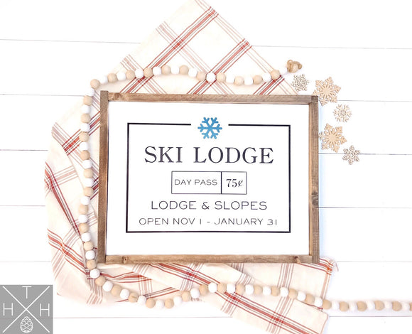 Ski Lodge Handmade Wood Sign