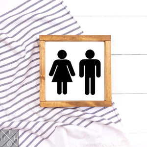 Restroom Man and Woman Handmade Wood Sign