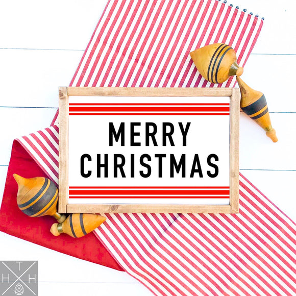 Merry Christmas with Stripes Handmade Wood Sign