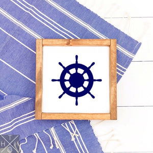 Ship Wheel Handmade Wood Sign