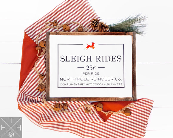 Sleigh Rides Handmade Wood Sign