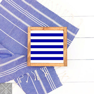 Navy Stripes Handmade Wood Sign