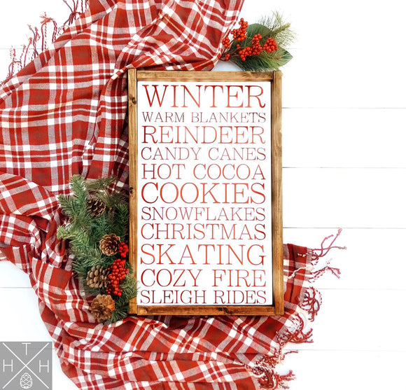 Winter Favorites List Handmade Wood Sign
