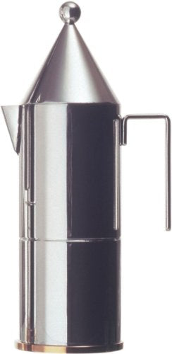 Officina Alessi La Conica 3 Cup Espresso Coffee Maker, Silver